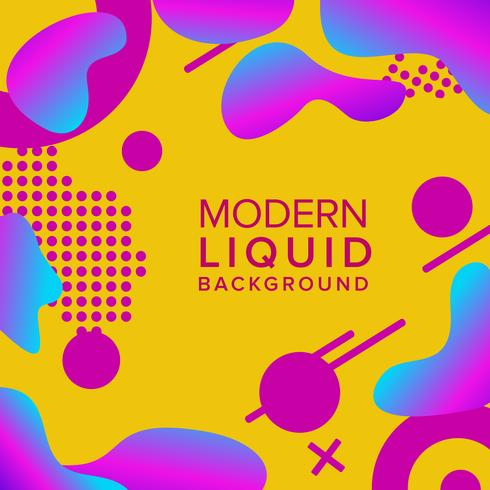 Retro color background design with trendy shapes composition vector