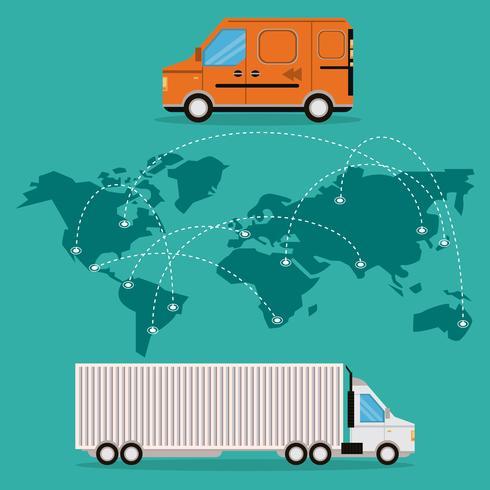transport merchandise logistieke vrachtwagen vector