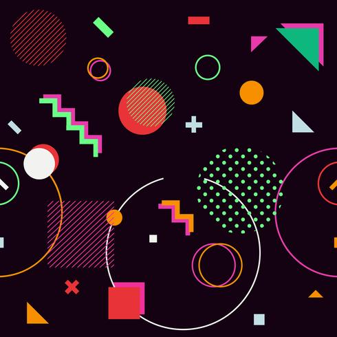 Black trendy geometric shapes memphis hipster background vector
