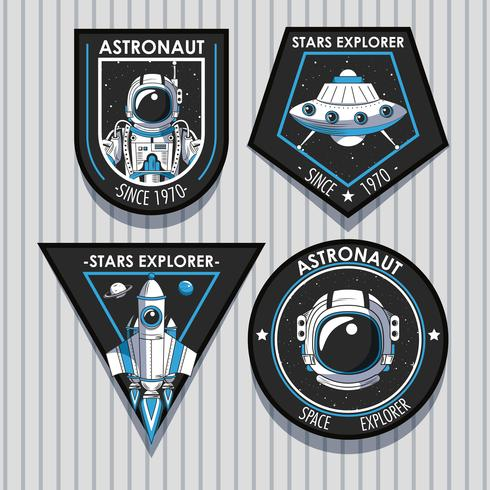 Set di Space explorer patch emblemi design
