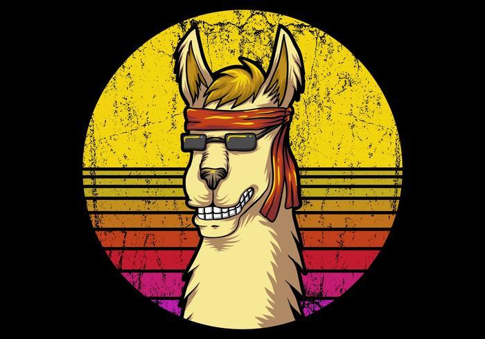 llama and retro sunrise vector