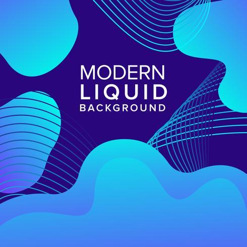Diseño de fondo de color azul líquido con composición de formas modernas vector