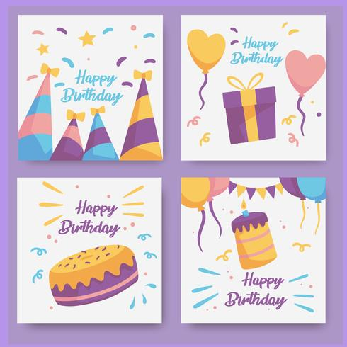 Colección de tarjetas de cumpleaños dibujadas a mano vector