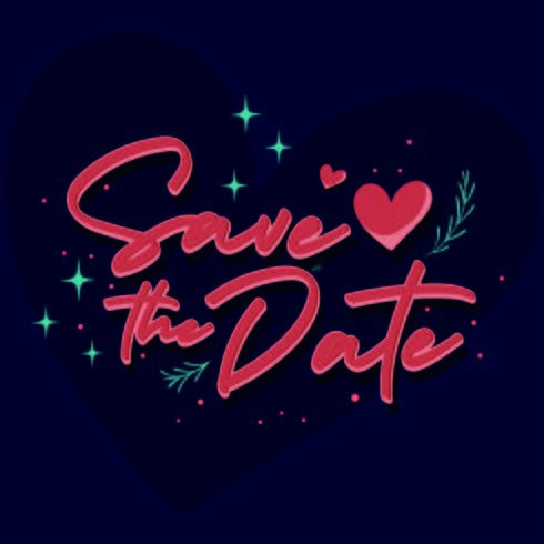 Save the date vintage text for wedding day
