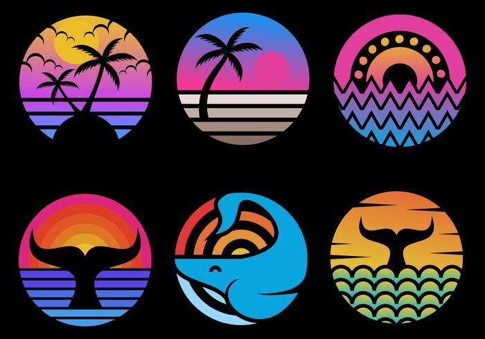 ocean sunset circle set vector