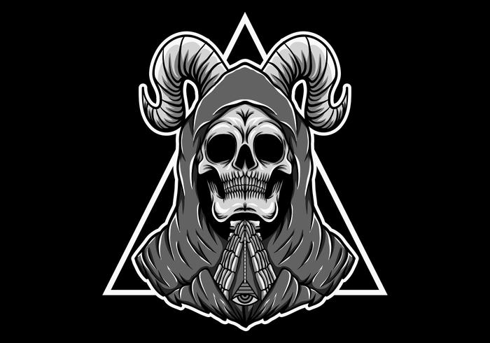 Praying skull with horns vector