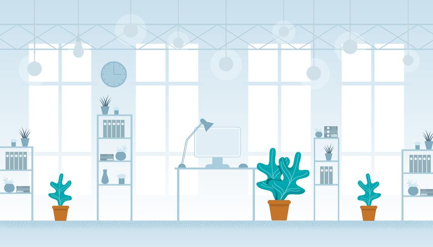 Modern Office Interior in Hi-Tech Style, No People vector