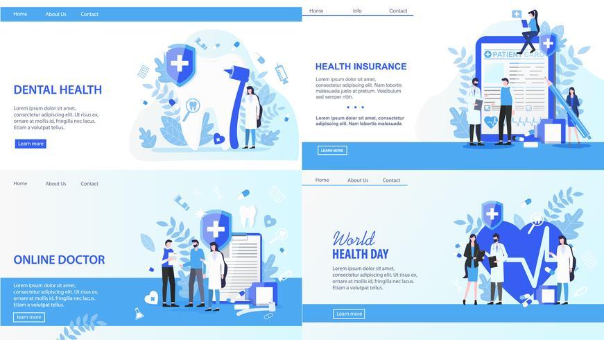 Doctor en línea Día Mundial de la Salud Seguro dental vector