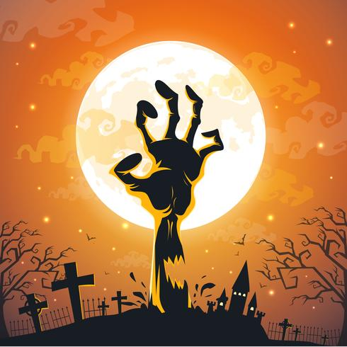 Halloween background with zombie hands on full moon. vector