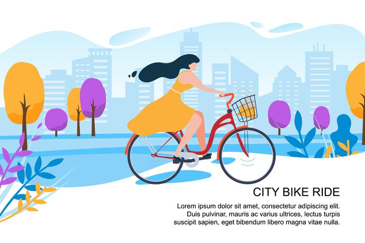 Felice Cartoon Girl Ciclista Ride Bike City Street vettore