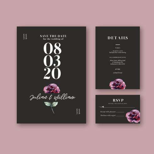 Blommig inbjudan för bröllopskort