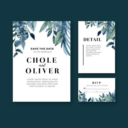 Cartão de convite de casamento floral cartão de casamento