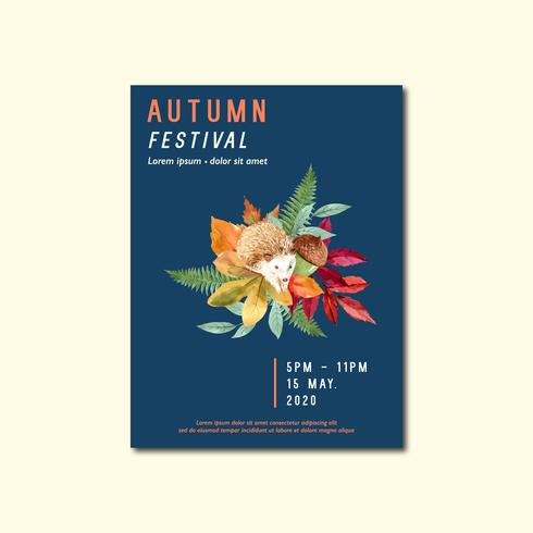Fall Poster layout design with leaves and animal