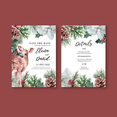 Winter floral blooming elegant wedding invitation card  vector