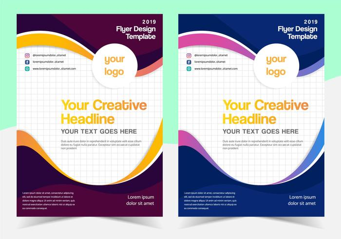 Multipurpose Wavy Flyer Template Design with Different Color vector