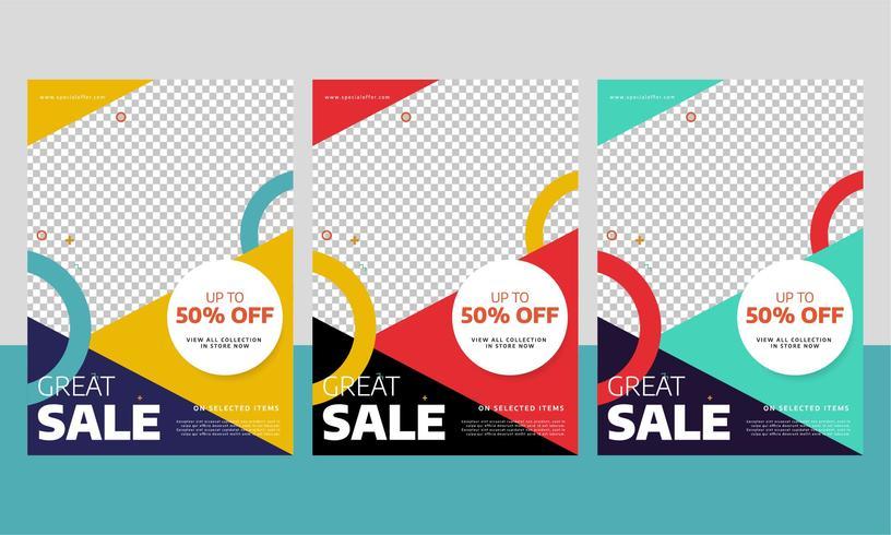 Moderne Verkaufs-Flieger- oder Plakat-Schablone mit unterschiedlicher Farbe