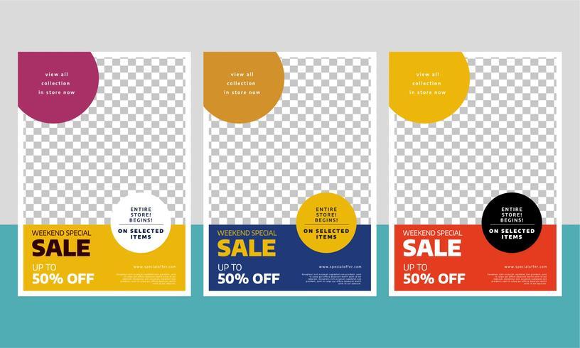 Modelo de folheto moderno venda com três cores diferentes