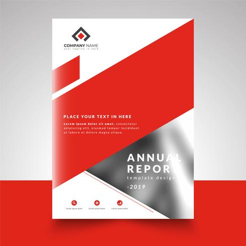 Red Abstract Business Design Annual Report Template vector