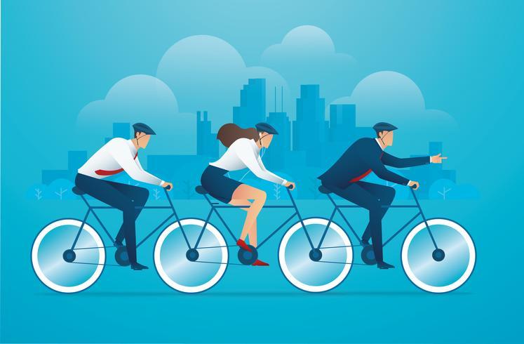 Gente en bicicleta en concepto de trabajo en equipo vector