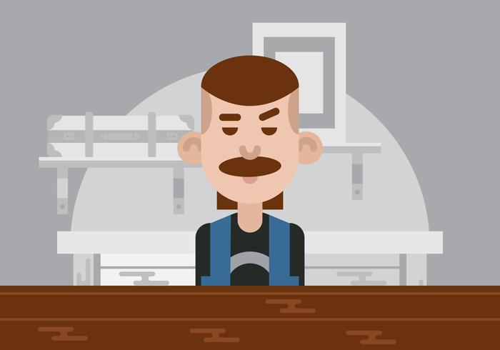 Mann an einer Stangen-Vektor-Illustration