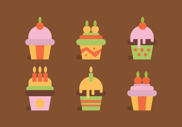 Färgglada uppsättning muffins vektor