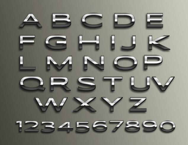 Vector Chrome alfabeto 3d