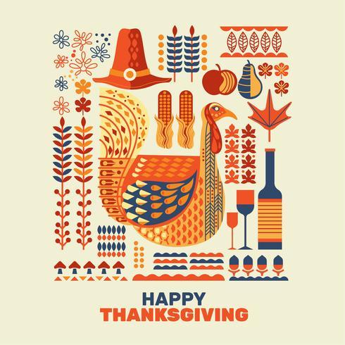 Joyeux Thanksgiving Element Set vecteur