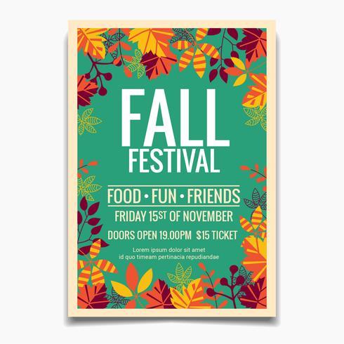 Modèle de flyer ou affiche du festival d'automne