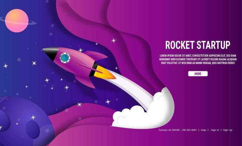 Rocket ship galaxy startup business idea concept vector