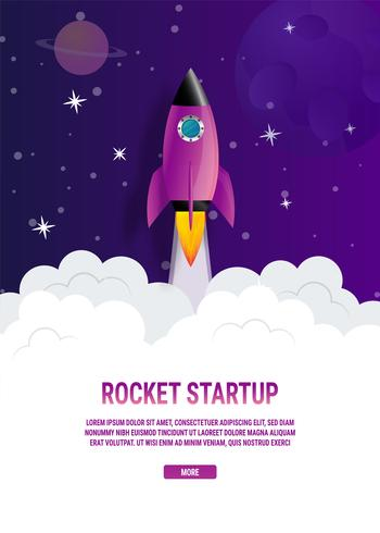 Concetto di idea di affari di Violet Rocket Startup vettore