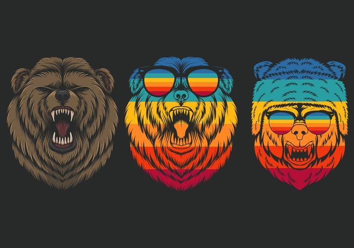 Conjunto retro oso enojado