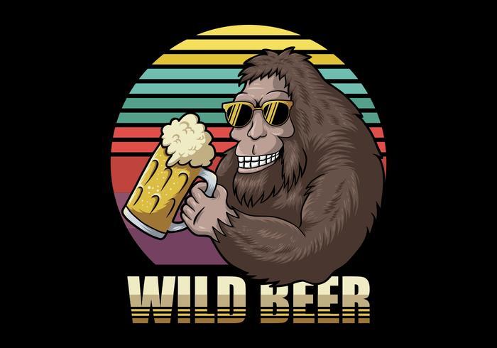 Retro Bigfoot holding beer vector
