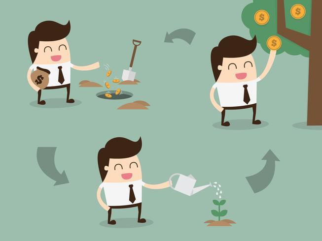Man som planterar pengar för att visa investeringar som växer