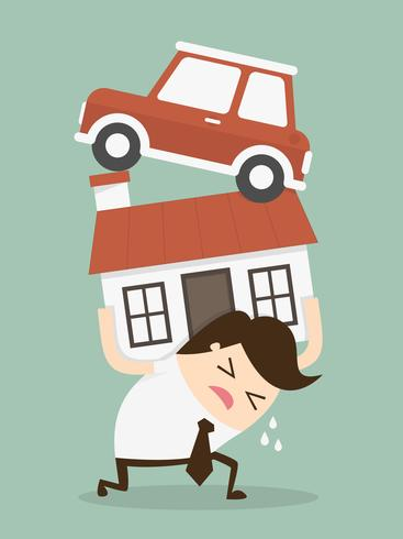 Man in debt holding up house and car