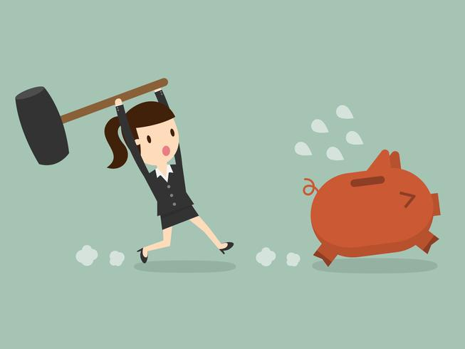business woman chasing piggy bank