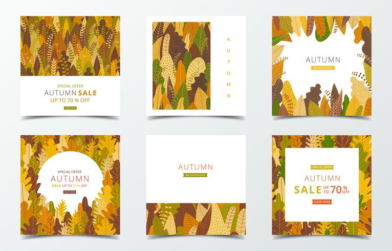 Set of fall banner template