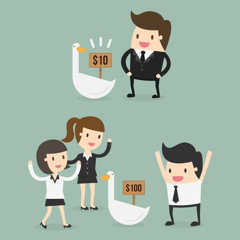 Hombres y mujeres invirtiendo su dinero vector