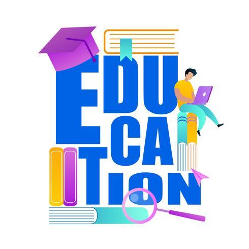 Word Education Deacorated avec des accessoires scolaires