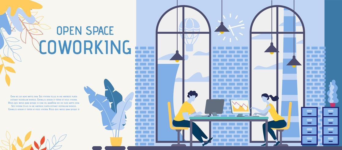 Espaço aberto, banner de escritório de Coworking vetor