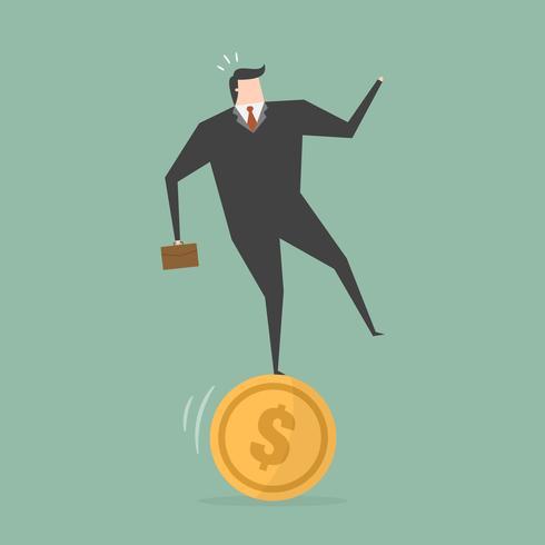 Geschäftsmann, der auf Münze balanciert