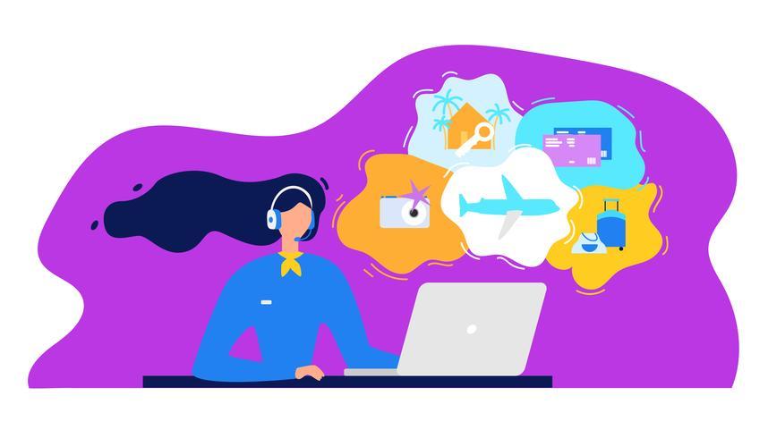 Reisebüro-Kundenkontaktcenter mit der Frau, die an Laptop arbeitet