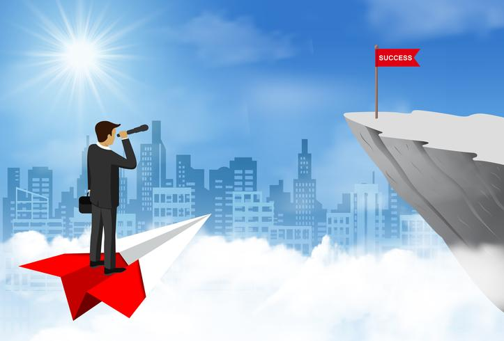 Businessman standing holding binocular on paper airplane go to flag red on cliff obstacle. go to goal and business finance success. leadership. creative idea. cartoon vector illustration