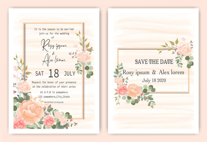 Pink Floral frame hand drawn invitation