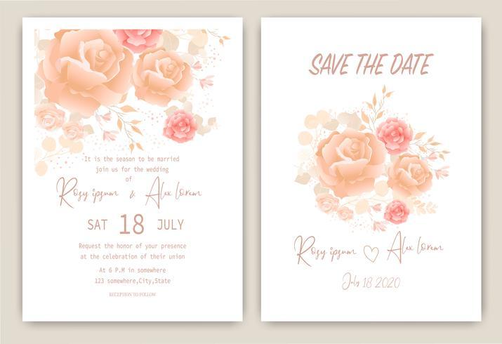Rosa klusterbröllopinbjudningskort Blommig handritad ram