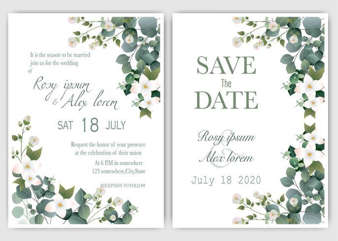 Invitación de boda verde y eucalipto