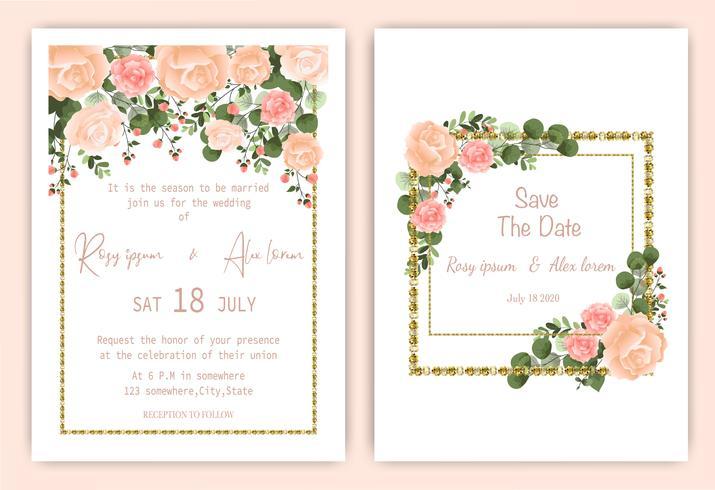 Rose square frame wedding invitation card  vector
