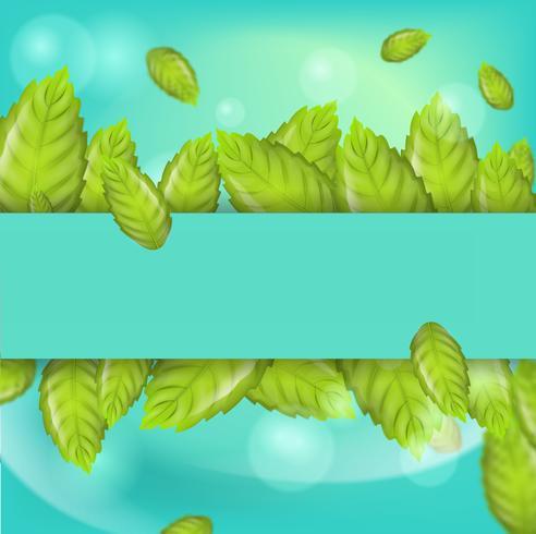 Ilustración realista horizontal hojas de menta vector
