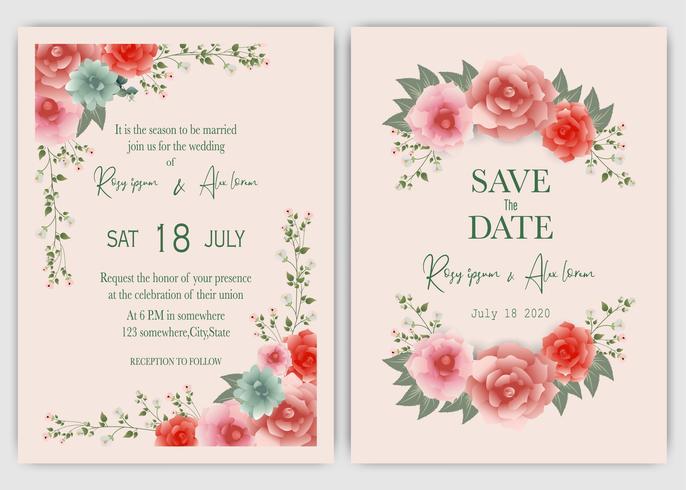 Convite de quadro de casamento floral rosa mão desenhada vetor