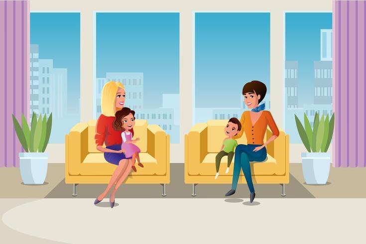 Madre con hijos psicólogo visitante vector