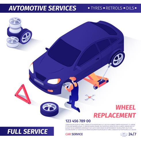 Banner for Advertising Wheel Replacement Service vector